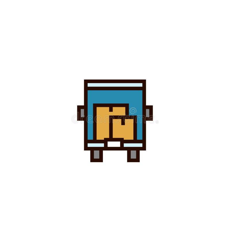 Troquez l'icône mobile de maison avec un bon nombre de symbole de boîtes en carton conception mince propre simple de style d'ense illustration de vecteur