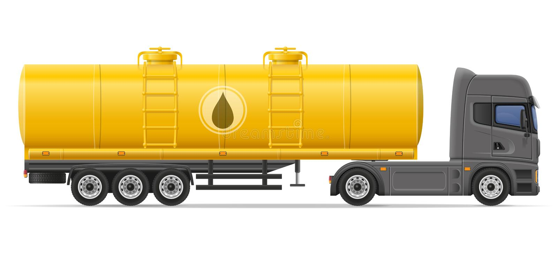 Troquez semi la remorque avec le réservoir pour transporter la défectuosité de vecteur de liquides illustration stock