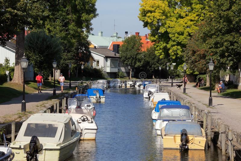 The Trosa river. Trosa, Sweden - August 28, 2019: View of the Trosa river with moored  pleasure boats royalty free stock photos