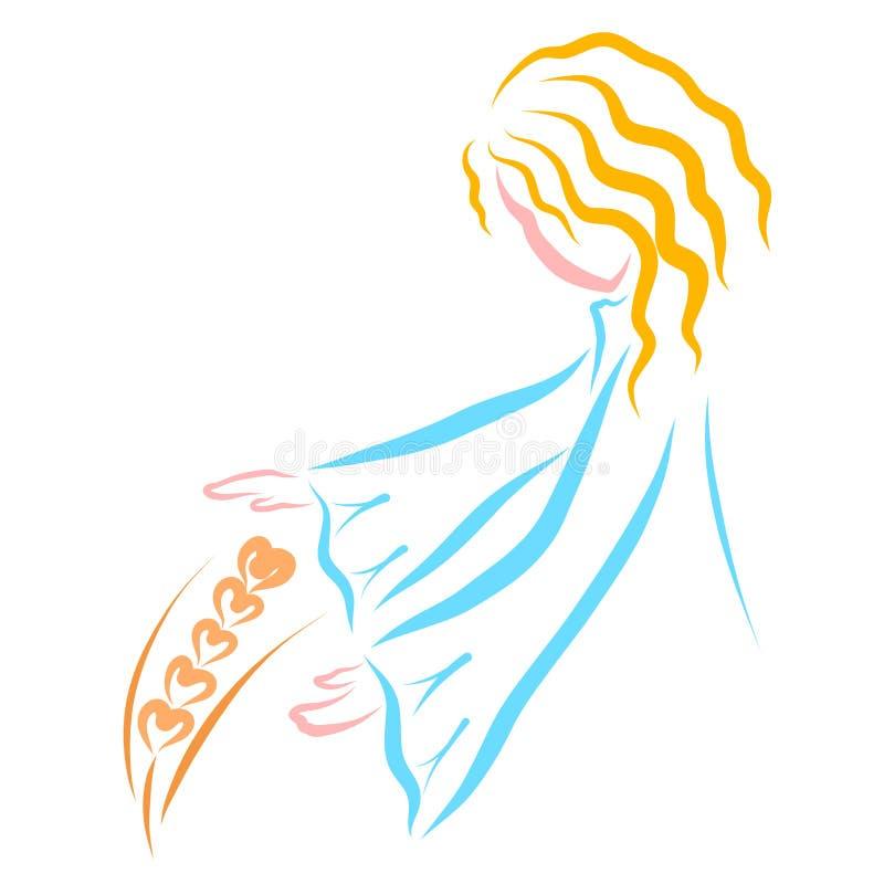Troskliwa dziewczyna, delikatny pszeniczny ucho, natura i ludzie, royalty ilustracja