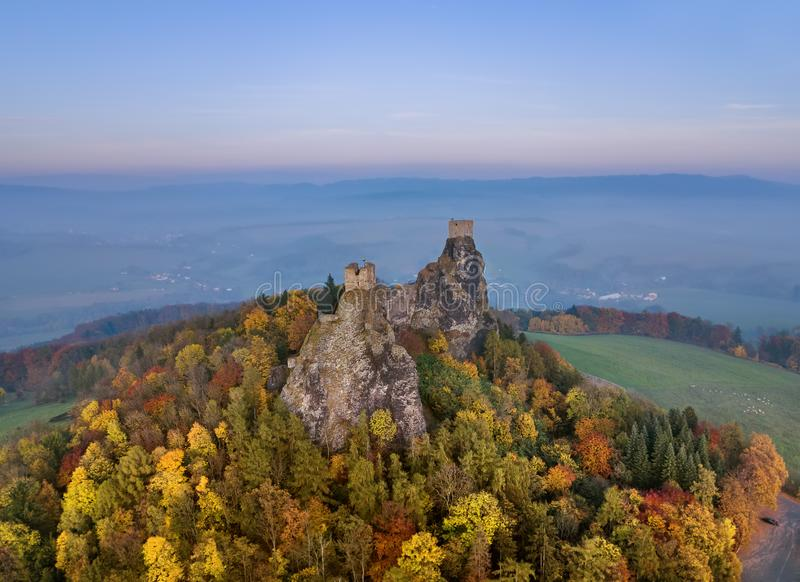 Trosky Castle in Bohemia paradise - Czech republic - aerial view. Travel and architecture background stock image