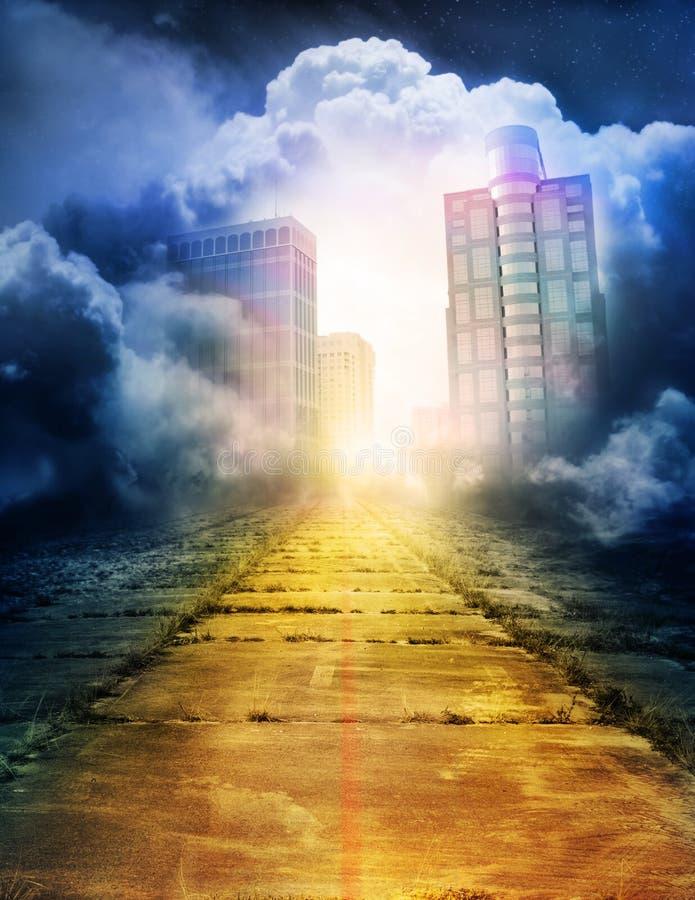 Trostlose Straße zur magischen Stadt stock abbildung