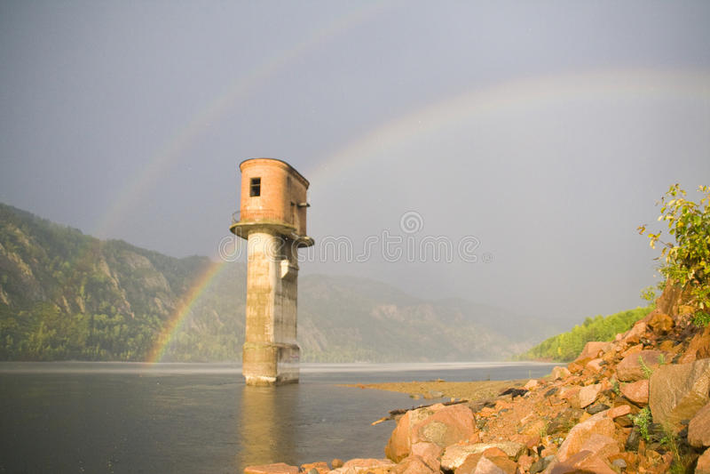 Trostloser Wasserturm stockfotos