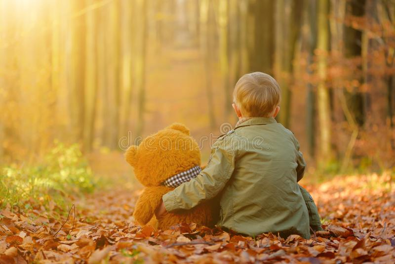Troszkę chłopiec bawić się w jesień parku obraz stock
