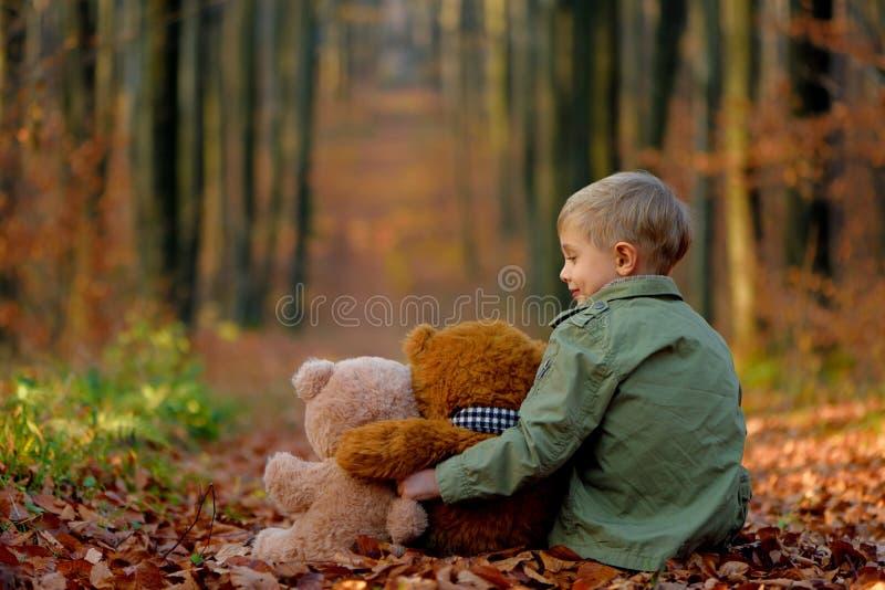 Troszkę chłopiec bawić się w jesień parku zdjęcie stock