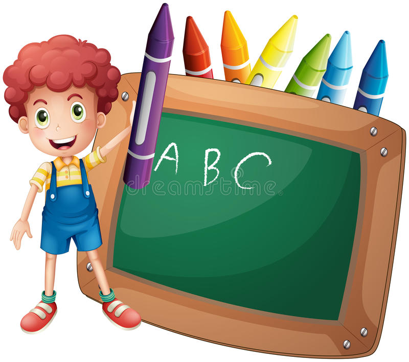 Troszkę chłopiec trzyma dużą fiołkową kredkę blisko blackboard ilustracji