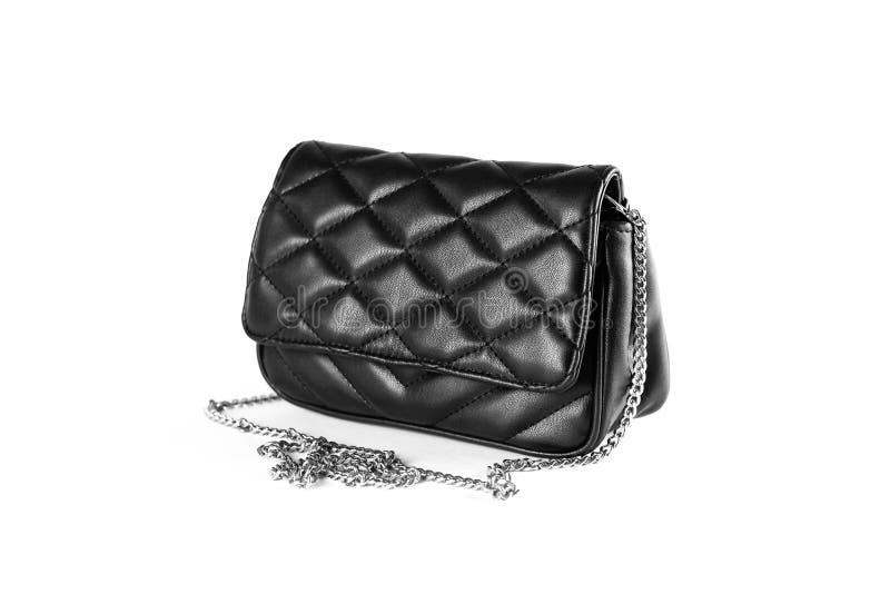 Troszkę czarnej kobiety rzemienna torebka sprzęgło z bliska Isolat fotografia royalty free