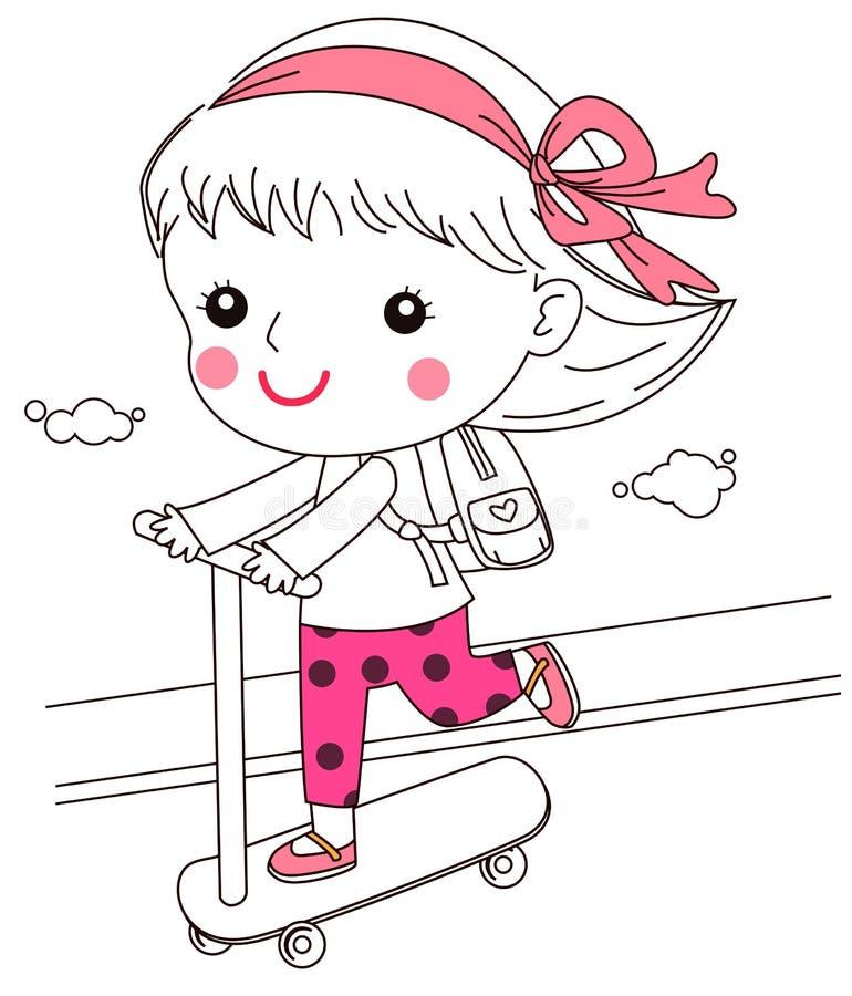 Troszkę dziewczyna iść dla przejażdżki na hulajnoga royalty ilustracja