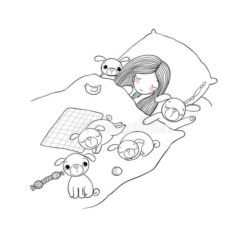 Troszkę dziewczyna i śliczni mopsy śpimy na łóżku ilustracji