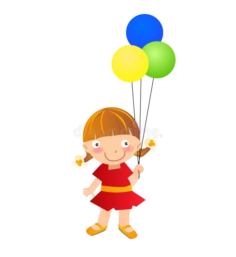 Troszkę dziewczyna z balonem ilustracja wektor