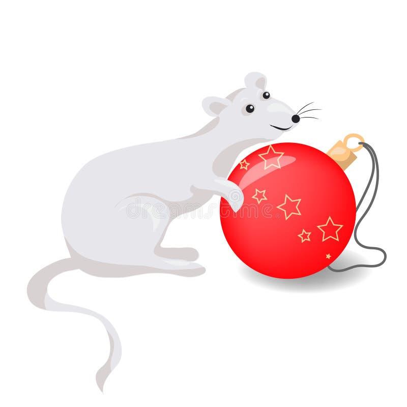 Troszkę myszy lub szczura horoskopu chiński symbol 2020 rok Wektorowa ilustracja odizolowywaj?ca na bia?y tle ilustracji