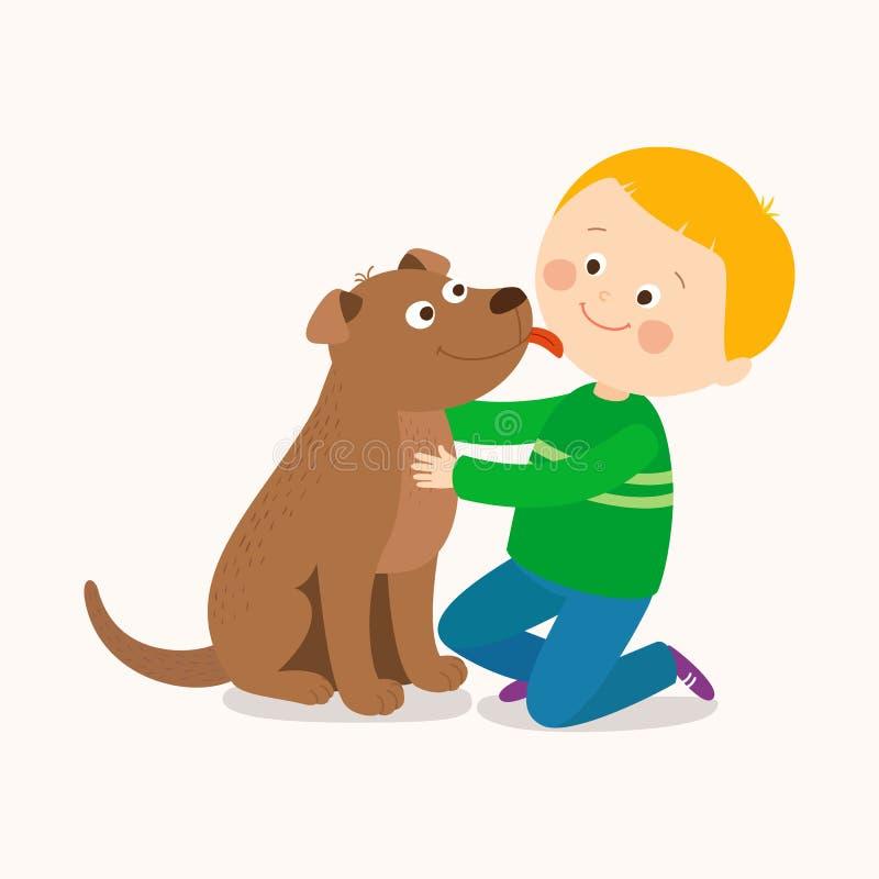 Troszkę psi oblizanie chłopiec ` s policzek Najlepsi Przyjaciele Kreskówki klamerki sztuki wektorowa ręka rysująca ilustracja na  royalty ilustracja