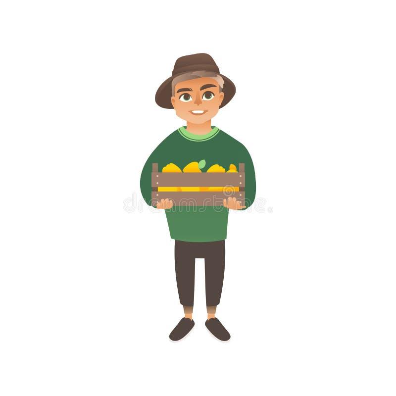 Troszkę trzyma pudełko z uprawą żółci jabłka lub pieprze caucasian chłopiec, dzieciaków żniwa ilustracji