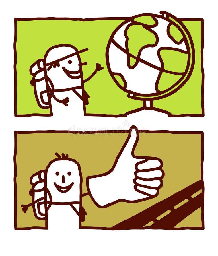 Trotador & hitchhiker do globo ilustração stock