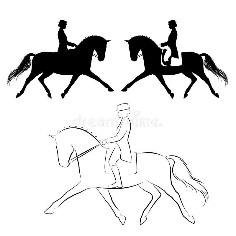 Trote ampliado caballo de la doma stock de ilustración