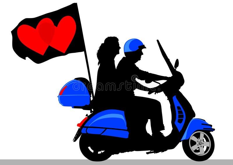 'trotinette' com bandeira ilustração do vetor