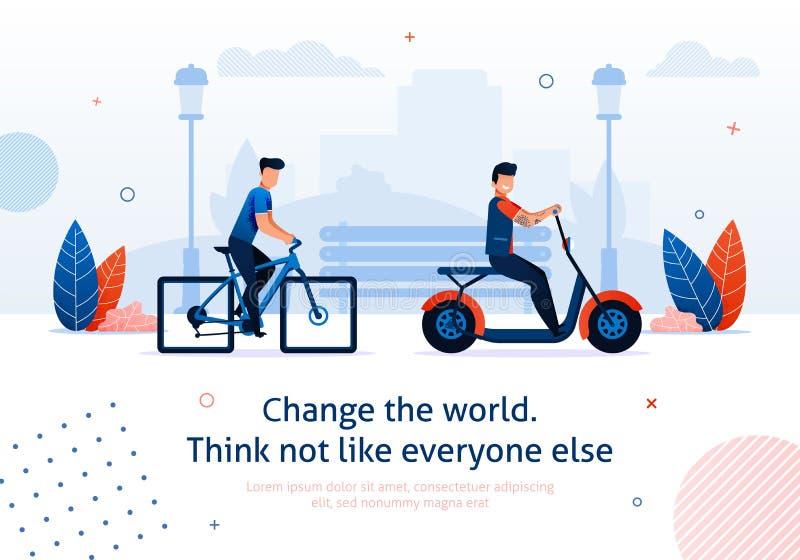 'trotinette' elétrico da bicicleta da bicicleta do passeio do homem dos desenhos animados ilustração royalty free