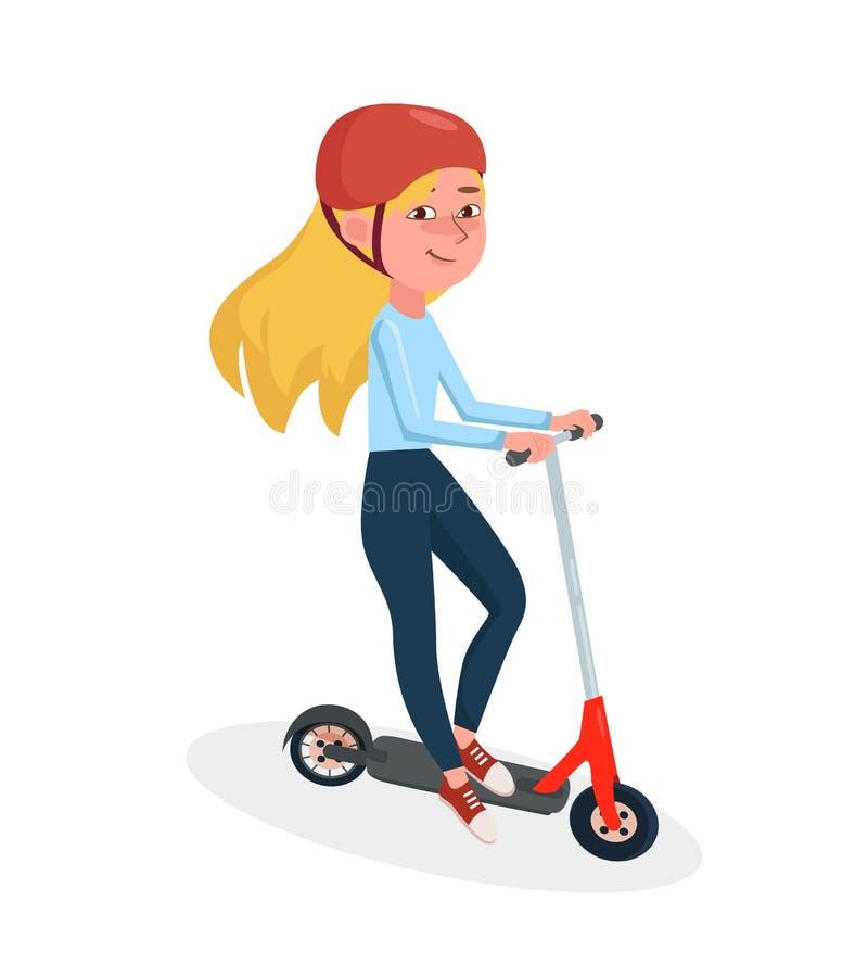 'trotinette' elétrico de duas rodas da equitação da menina Ilustra??o f?mea do personagem de banda desenhada do vetor ilustração stock