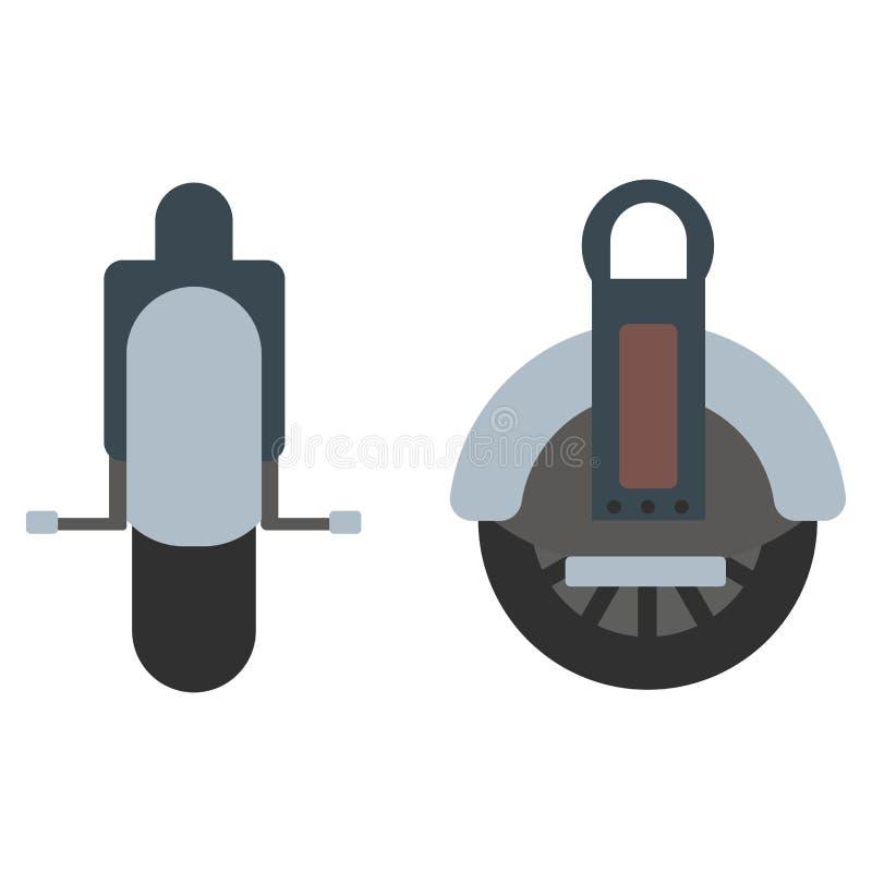 'trotinette' isolado mono roda do vetor do rolo ilustração stock