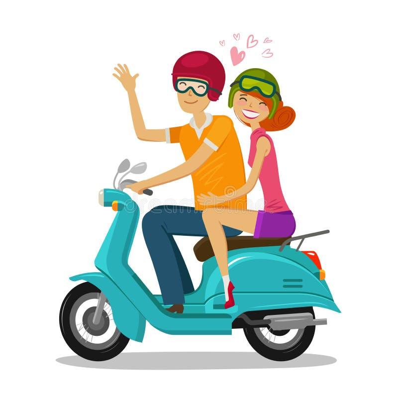 'trotinette' loving da equitação dos pares Viagem, conceito do curso Ilustração do vetor dos desenhos animados ilustração do vetor