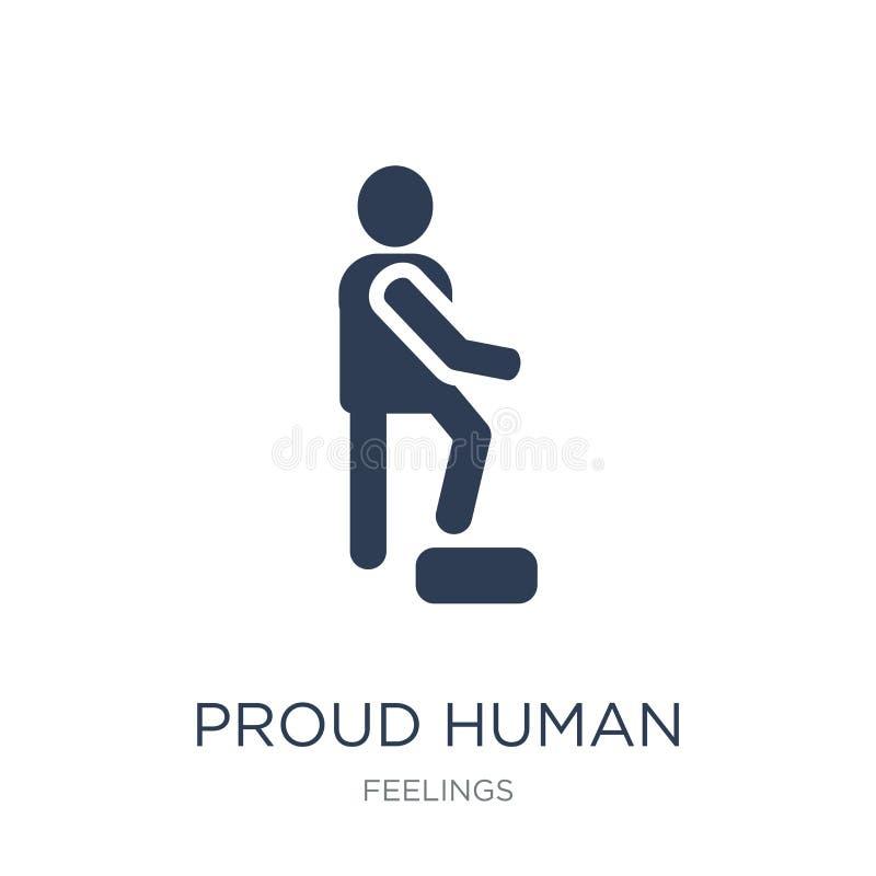 trots menselijk pictogram In vlak vector trots menselijk pictogram op witte B royalty-vrije illustratie