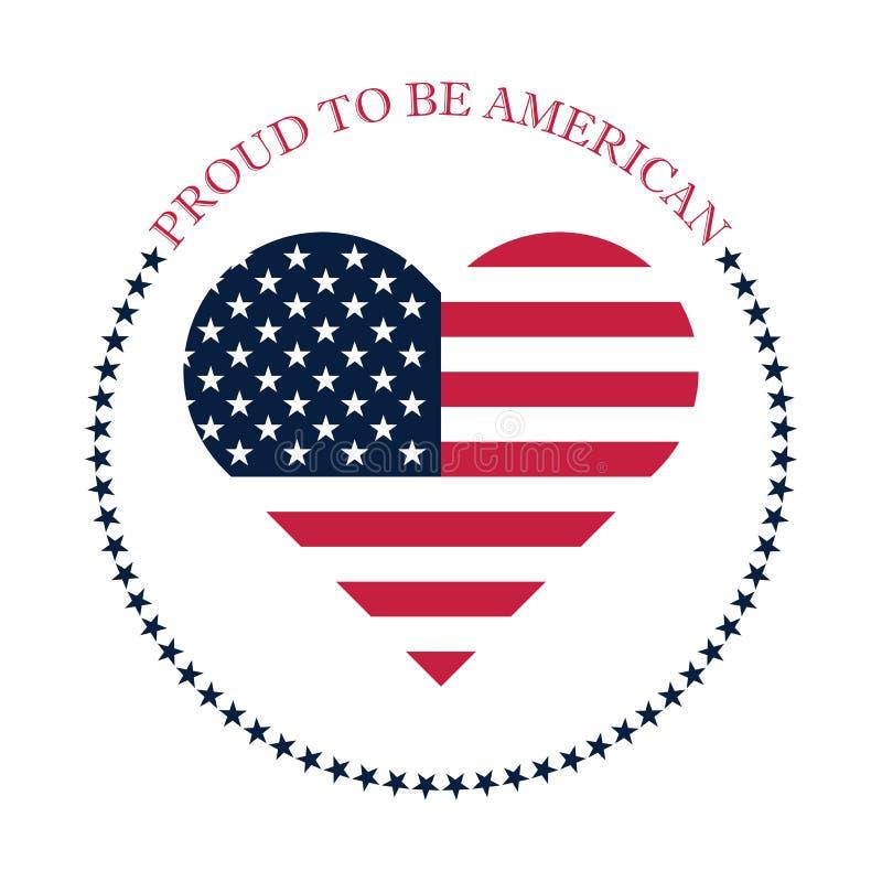 Trots om Amerikaans pictogramontwerp met de Amerikaanse elementen van het vlagembleem te zijn royalty-vrije illustratie