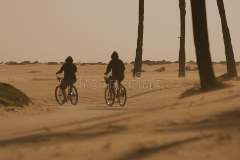 trotsa cirkulerande cyklister deserterar wind för sand två arkivfoto