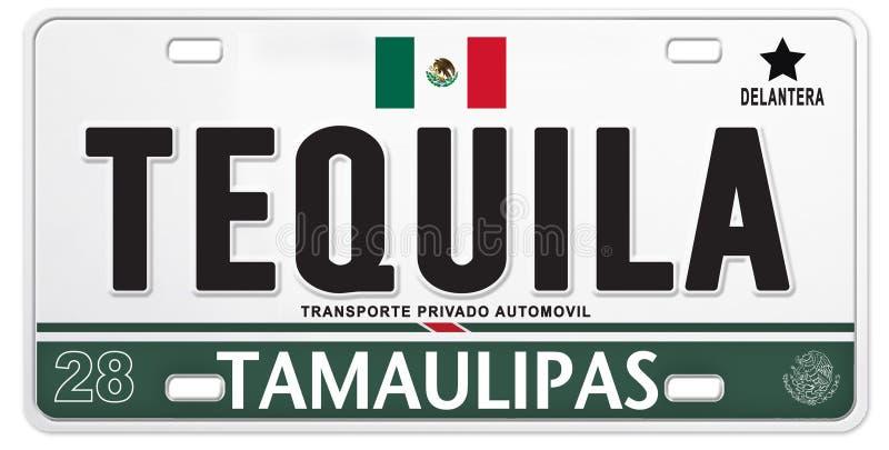 Trotse het Voetbalvoetbal van Mexico van de Tequila Mexicaanse Nummerplaat vector illustratie