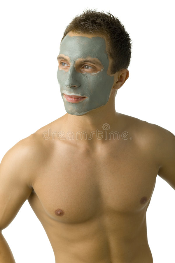 Trotse mens in masker stock afbeeldingen