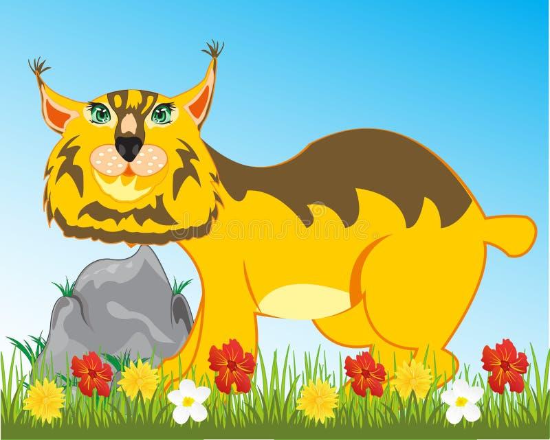 Trotto della fauna selvatica sulla radura di anno con il fiore royalty illustrazione gratis