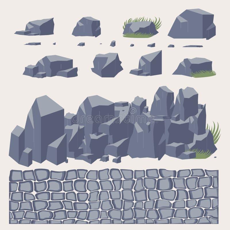 Trottoar för stenvägg royaltyfri illustrationer