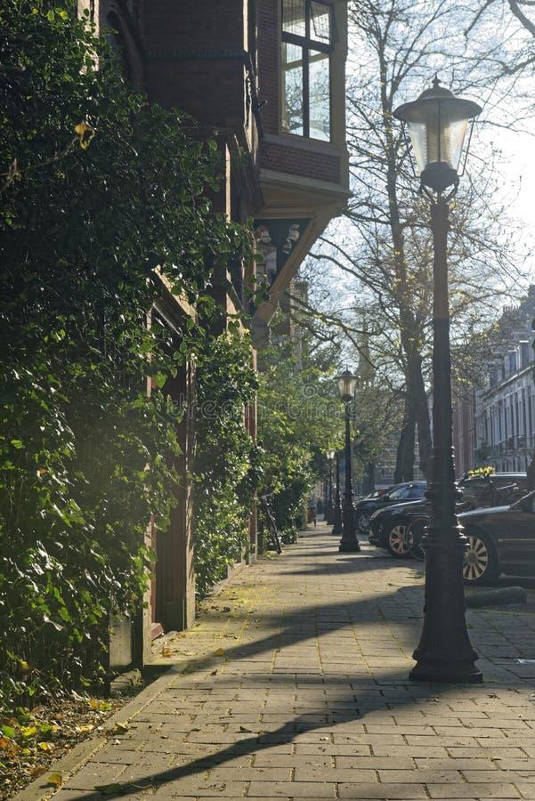 Trottoar i Amsterdam, Holland arkivbild