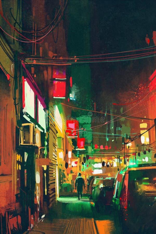 Trottoar i staden på natten med färgrikt ljus royaltyfri illustrationer