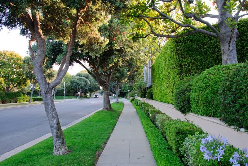 Trottoar på beverly hillls i Kalifornien arkivbilder