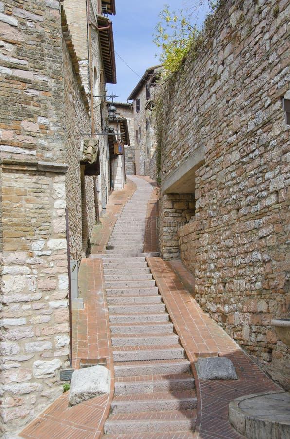 Trottoarer av Assisi, Italien royaltyfri fotografi