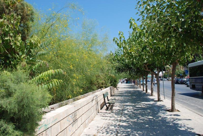 Trottoir avec les arbres verts et rue dans la station touristique de Héraklion, Crète photos stock