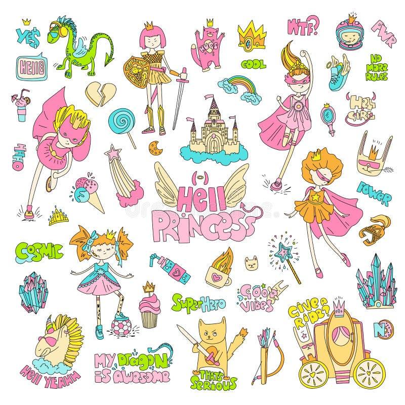 Trotzen Sie Wildfang Höllenprinzessinvektor-Karikatursatz Prinzessinmagie und Feminismusillustration, kleines jugendlich Mädchen, lizenzfreie abbildung