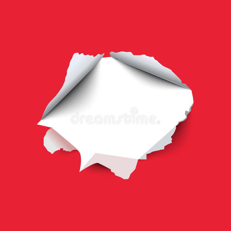 Trou déchiré dans la feuille de papier rouge Illustration de vecteur illustration de vecteur
