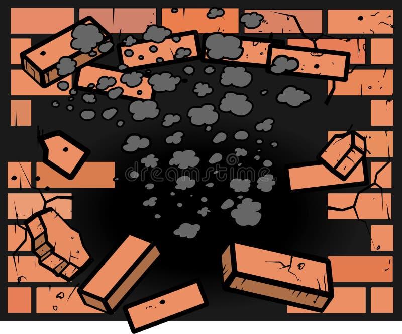 Trou dans le mur de briques illustration libre de droits