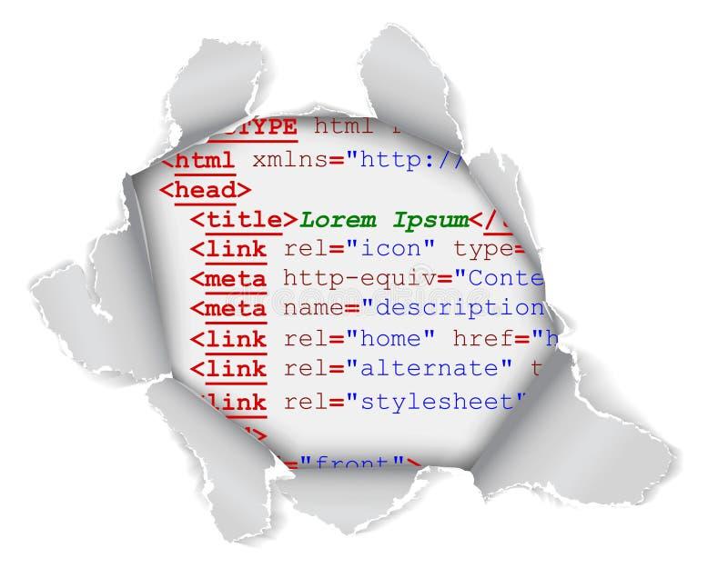 Trou dans le page Web illustration stock