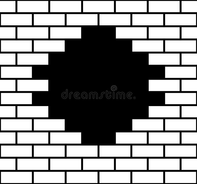 Trou dans un mur de briques illustration libre de droits