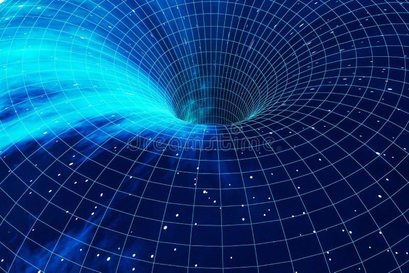 Trou de ver cosmique, concept de voyage dans l'espace, tunnel en forme d'entonnoir qui peut relier un univers à des autres rendu  illustration stock
