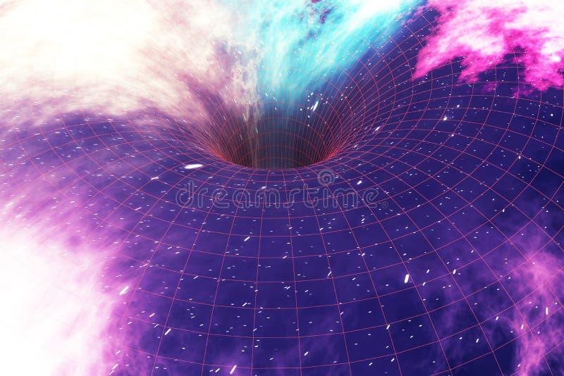 Trou de ver rougeoyant dans l'espace, la chaîne interstellaire, l'espace de déplacement de cuvette et le temps rendu 3d illustration libre de droits