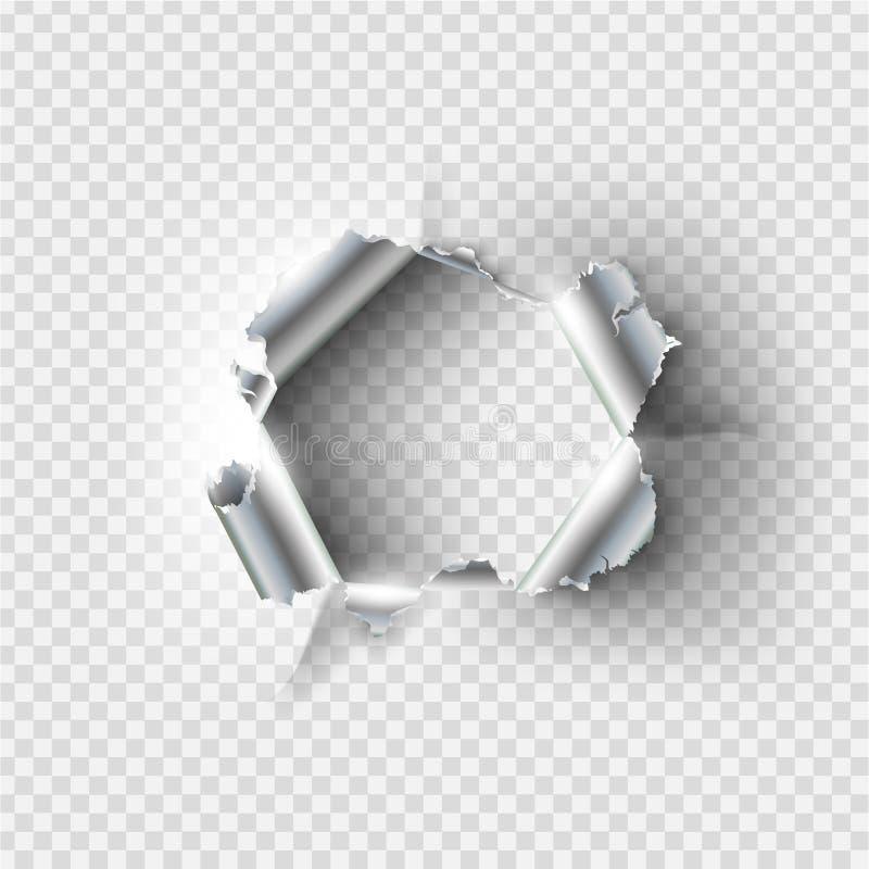Trou en lambeaux déchiré en métal déchiré illustration de vecteur