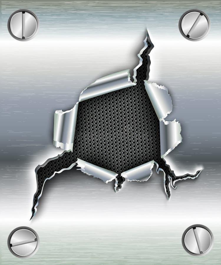 Trou en lambeaux dans le métal illustration de vecteur