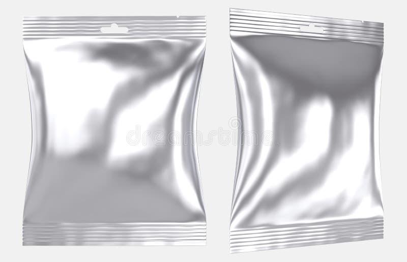 Trou en plastique de fente de sac d'oreiller d'aluminium vide illustration libre de droits