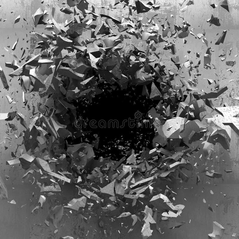 Trou foncé d'explosion de vieux mur en béton illustration de vecteur
