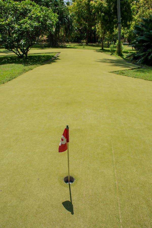 Trou identifié par le drapeau au secteur de golf image libre de droits