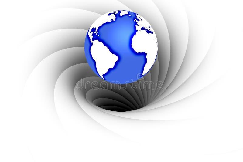 Trou noir absorbant la terre de planète illustration stock