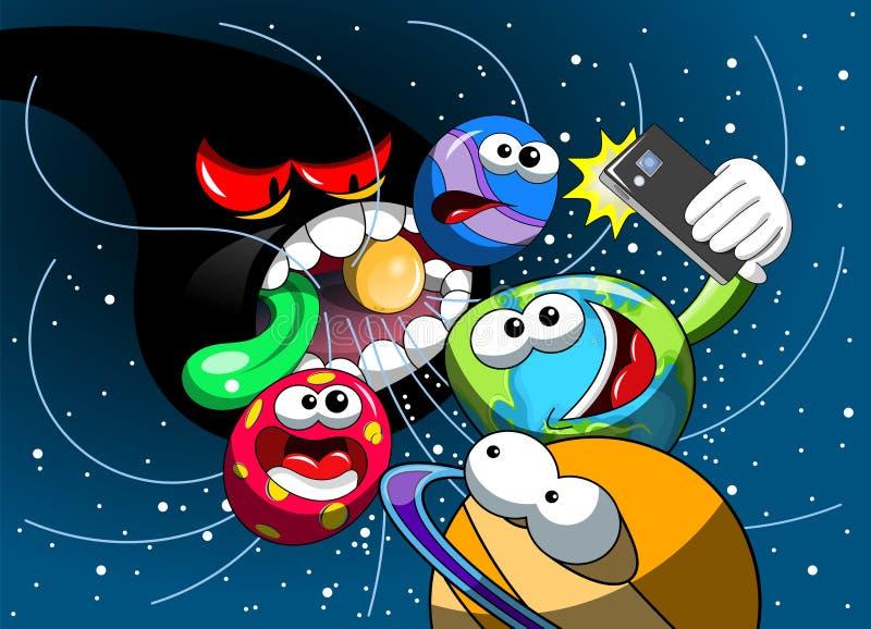 Trou noir de monstre de bande dessinée mangeant le smartphone de selfie de la terre d'univers illustration stock